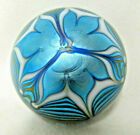 Northern Star 1976 Art Glass Paperweight Pulled Feather Blue  Gold Artist GR