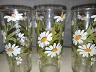 3 Vintage Raised White Daisy Flower Glass Tumblers Daisies Green