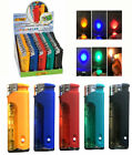 5 Flags Refillable Butane Lighter Assorted Colors with Color LED Flashlight