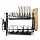 Over Sink Dish Drying Rack Drainer Stainless Steel Kitchen Cutlery Holder Shelf