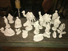 Vintage Atlantic Mold Ceramic Creche 20 Pc Ivory Pearlescent White Nativity Set