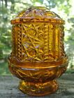 Vintage Indiana Amber Glass Fairy Lamp Light  Stars and Bars Candle 6.5