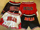 NWT Chicago Bulls Mens Vintage Basketball Red Black Pinstripe White Sewn Shorts