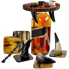 Viking Horn Drinking Cup Shot Glasses with Vintage Axe Bottle Opener  Coasters