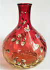 Signed MOSER 7 AMBERINA ENAMEL Floral CRANBERRY Antique BOHEMIAN Art Glass VASE