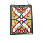 Stained Glass Window Panel Victorian Stained Cut Glass Tiffany Style 18 x 25