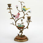 PORCELAIN IN BRONZE ORMOLU SONG BIRDS  BABIES CANDLE STAND CANDLESTICK HOLDER