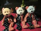 TY BEANIE BABY RETIRED  SPANGLE -RED & WHITE & BLUE  SET of 3 PERFECT TAGS