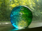PRETTY 3 COLOR ART GLASS PAPERWEIGHT FULL OF BUBBLES BLUE GREEN