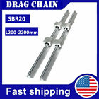2pcs Sbr20 200-2200mm Linear Rail Slide Guide Shaft 4x Sbr20uu Bearing Block Cnc