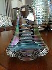RARE Signed Henry SUMMA Iridescent Spiral Faceted Glass Paperweight Sculpture