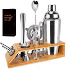 Cocktail Shaker Set Stainless Steel Bartender Kit Bar Tools Bamboo Stand 10 Pcs