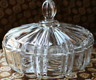 Anchor Hocking Fire King Clear Glass Round OLD CAFE Candy Dish with Lid