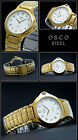 Osco Classic Elegant Men's Watch Stainless Steel Gold Plated Face Arabic