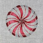 4 PEPPERMINT HARD CANDY Handpainted Needlepoint Canvas CHRISTMAS ORNAMENT Red