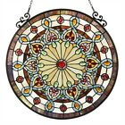 Window Panel Victorian Stained Glass Round Tiffany Style LAST ONE THIS PRICE
