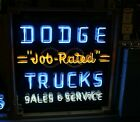 Contemporary Dodge Trucks Job Rated Tin Neon Advertising Sign reproduction