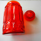 LE Smith Red Amberina Glass Moon  Stars 11 Covered Flour Canister Vintage