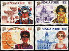 Singapore Scott 580 583 1 Chinese Opera Singer Siong Lim Temple 2 Malay Dance