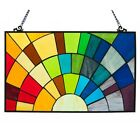 Stained Glass Rainbow Design Window Panel Handcrafted Tiffany Style 20 x 12