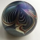 Signed Correia Blown Glass Paperweight Pulled Feather Iridescent Paper Label