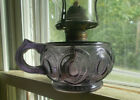1890 AMETHYST GLASS PEACOCK FEATHER PATTERN FINGER GRIP OIL LAMP COMPLETE