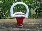 Fenton Art Glass Ruby Snow Crest 37 Miniature Mini Basket for Zeta Todd