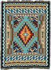 72x54 Southwest Blue Brown Geometric Native American Tapestry Throw Blanket
