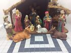 Nativity Set w Stable 12pc Extra Large Ceramic VTG Creche Figurines And Animals