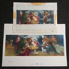 JOY TO THE WORLD Nativity Scene 2pcs 12x8 Greeting Card Art X2056 w 6 Cards