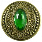 Extra Large Antique Green Glass in Metal Coat or Cloak Button