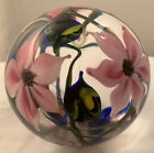 GORGEOUS LOTTON SIGNED DATED CLEMATIS FLOWER GLASS PAPERWEIGHT 3 x 2 1 2in