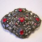 Early CUT STEEL  RED Glass Rhinestones Large PIN Brooch