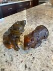 Pair Lalique Crystal Bear Cubs  Cola Colored Discontinued  French