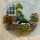 195 Peggy Karr Large Fused Glass Charger Platter Cat Mid Century