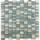 Glass Mosaic Random Mix With Aluminum White Oak Marble Kitchen Tile Backsplash