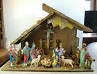 Antique DEPOSE ITALY 12 Piece Nativity Figures with Creche 13 Tall 17 Wide