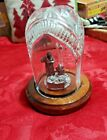 Waterford Crystal Nativity Glass Dome and Pewter Sculptures Mary Joseph Jesus