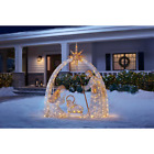 Large Indoor Outdoor Baby Jesus LED Nativity Scene Stable Statue Sculpture Set
