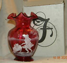 Fenton 2001 1573 Q8 Mary Gregory Cranberry Glass Vase 6  x 4 276 of 235