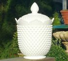 COOKIE JAR vtg fenton milkglass hobnail covered canister compote antique glass