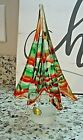 9 Murano Art Glass Christmas Red  Green Strip Tree Figurine w Label