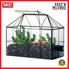 Reinforced Glass Terrarium Geometric Black Grid House Shape Decor Succule Plants