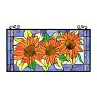 Stained Glass Sunflower Design Tiffany Style Window Panel 16 W x 31 T