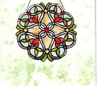 Stained Glass Window Panel Colorful Floral Vine Hanging Sun Catcher Red Green