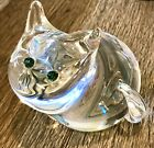 Steuben Glass 8274 Smiling Cat w Tourmaline Eyes Figurine by Donald Pollard