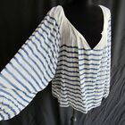 White Blue Gauze Shirt Top Blouse Huge Loose Sleeves L XL Cotton