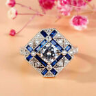 Modern Engagement Vintage Art Deco Ring 14k White Gold Over 22 Ct Sapphire Ring