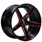 4ea 22 Marquee Wheels M3226 Gloss Black with Red Milled RimsS44