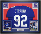 Michael Strahan Autographed and Framed Blue Giants Jersey Auto Beckett COA